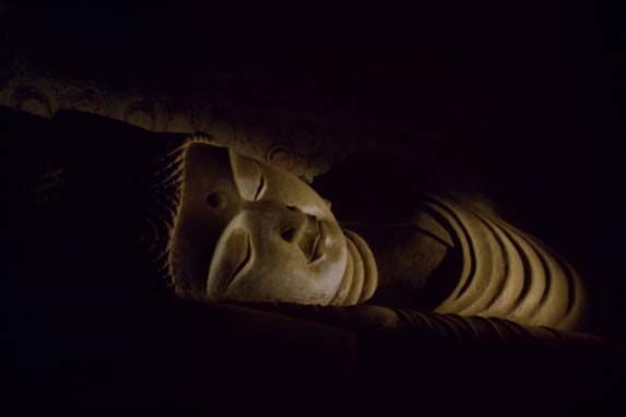 Stucco statue of the Nirvāṇa Buddha,  Mogao Cave 158, Mid Tang Dynasty
